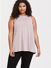 Plus Size Lilac Mesh Insert Wicking Active Muscle Tank, , alternate