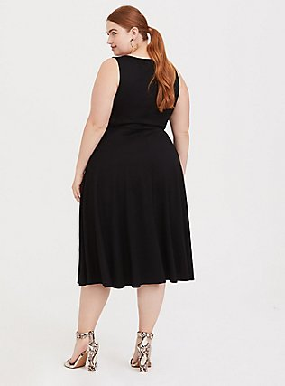 Black Premium Ponte Midi Dress, DEEP BLACK, alternate