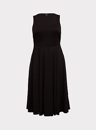 Black Premium Ponte Midi Dress, DEEP BLACK, flat