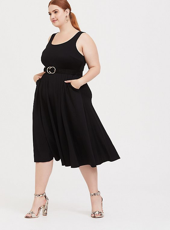 Plus Size Black Premium Ponte Midi Dress, , hi-res