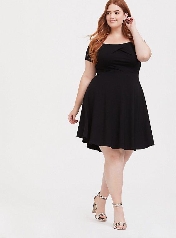 Black Premium Ponte Off Shoulder Skater Dress, , hi-res