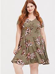 Light Olive Green Floral Fluted Skater Dress, FLORAL - OLIVE, alternate