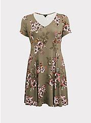 Light Olive Green Floral Fluted Skater Dress, FLORAL - OLIVE, hi-res