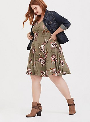 Light Olive Green Floral Fluted Skater Dress, FLORAL - OLIVE, hi-res