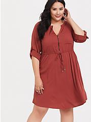 Brick Red Challis Drawstring Shirt Dress, BURNT BRICK, alternate