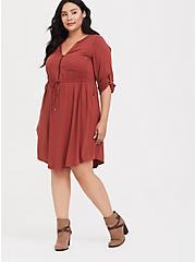 Brick Red Challis Drawstring Shirt Dress, BURNT BRICK, hi-res