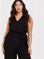 Harper - Black Challis Culotte Jumpsuit, DEEP BLACK, alternate