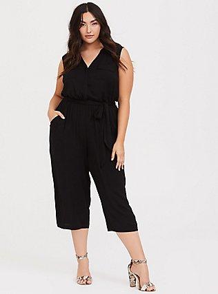 Harper - Black Challis Culotte Jumpsuit, DEEP BLACK, hi-res
