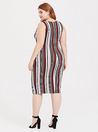 Multi Stripe Jersey Twist Front Dress, STRIPE - RED, alternate