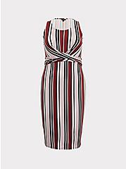 Multi Stripe Jersey Twist Front Dress, STRIPE - RED, hi-res