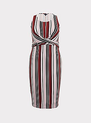 Multi Stripe Jersey Twist Front Dress, STRIPE - RED, flat
