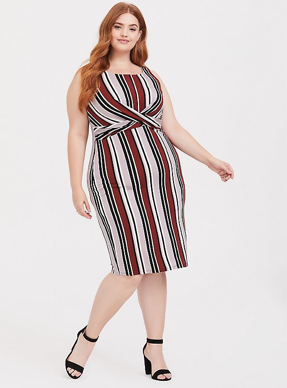 Multi Stripe Jersey Twist Front Dress, , hi-res