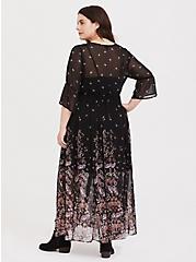 Black Floral Chiffon Button Down Maxi Dress, FLORAL - BLACK, alternate