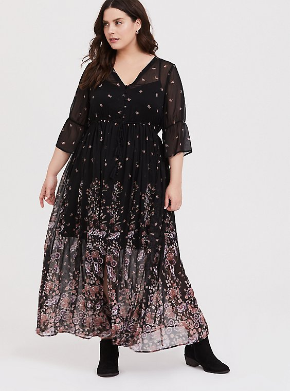 Black Floral Chiffon Button Down Maxi Dress, , hi-res