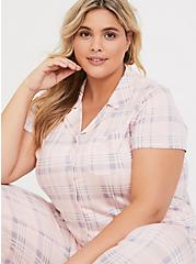 Light Pink Plaid Button Front Sleep Shirt, MULTI, alternate