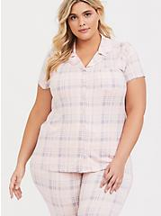 Light Pink Plaid Button Front Sleep Shirt, MULTI, hi-res