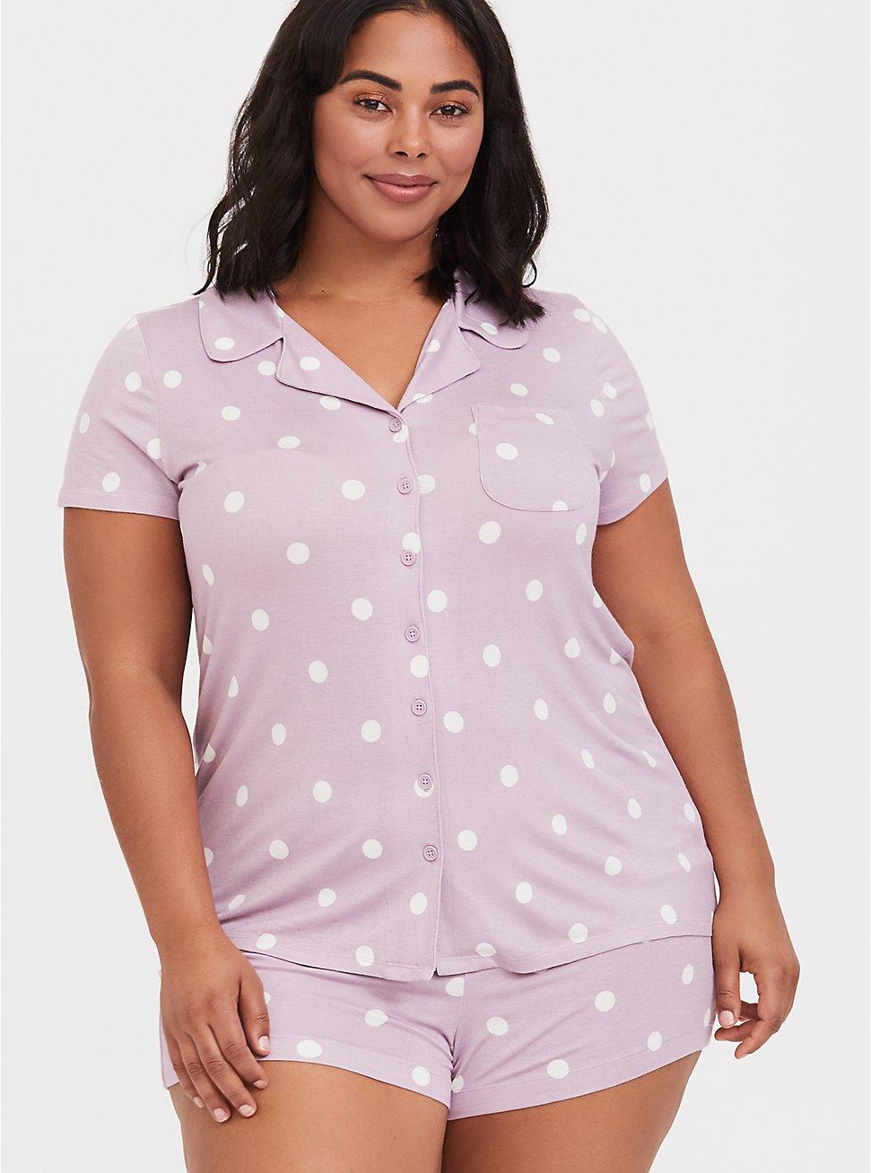 Light Lavender Purple Polka Dot Sleep Shirt, MULTI, hi-res