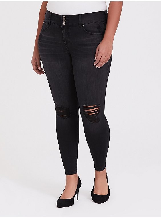 Plus Size Jegging - Premium Stretch Washed Black, , hi-res