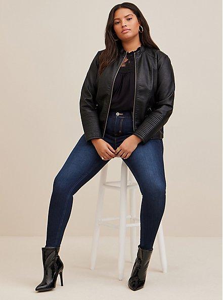 Plus Size Black Faux Leather Moto Jacket, DEEP BLACK, alternate
