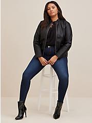 Black Faux Leather Moto Jacket, DEEP BLACK, alternate