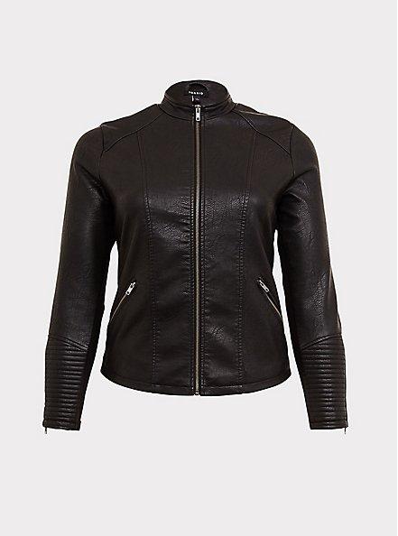 Plus Size Black Faux Leather Moto Jacket, DEEP BLACK, hi-res