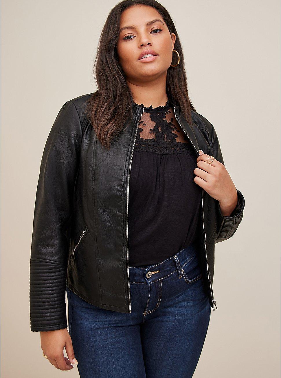 Black Faux Leather Moto Jacket, DEEP BLACK, hi-res