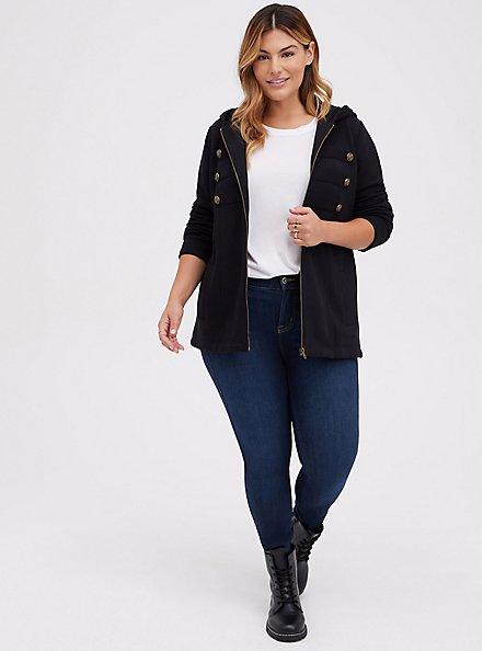 Black Fleece Military Hooded Jacket, DEEP BLACK, alternate