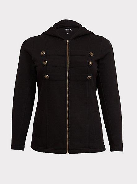 Black Fleece Military Hooded Jacket, DEEP BLACK, hi-res