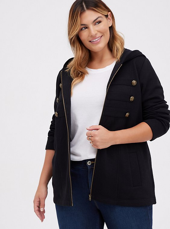 Plus Size Black Fleece Military Hooded Jacket, , hi-res