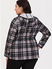 Black & Pink Plaid Nylon Hooded Rain Jacket, , alternate