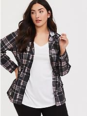 Black & Pink Plaid Nylon Hooded Rain Jacket, , hi-res
