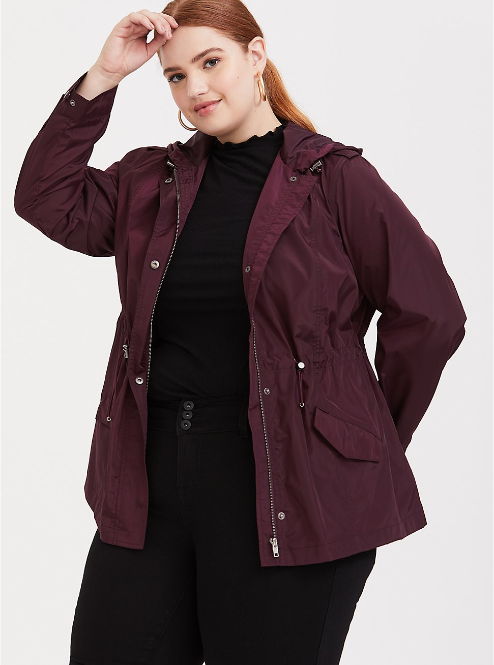 Burgundy Purple Nylon Hooded Rain Jacket, , hi-res