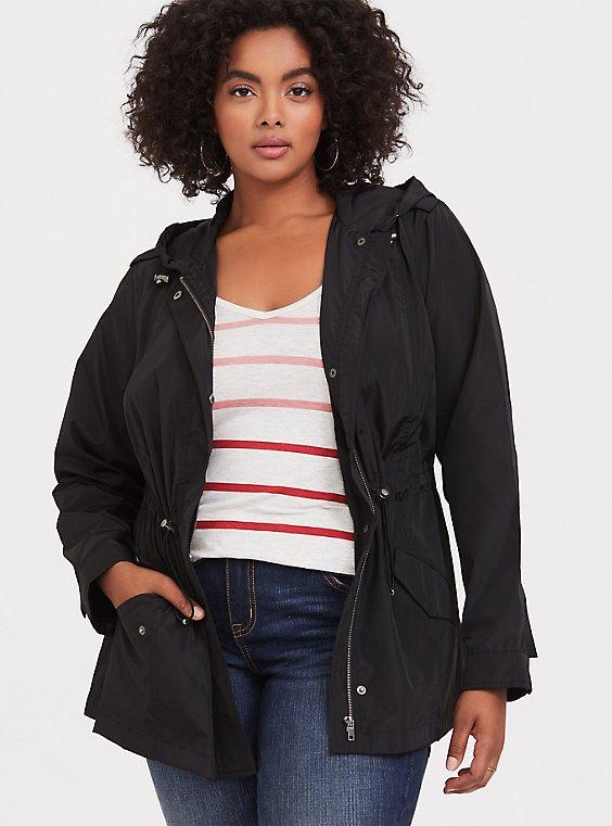 Black Nylon Hooded Rain Jacket, , hi-res