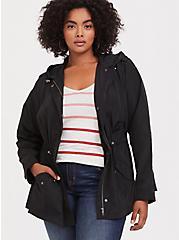 Black Nylon Hooded Rain Jacket, DEEP BLACK, hi-res