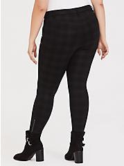 Black & Dark Grey Plaid Ponte Ankle Skinny Pant, PLAID, alternate