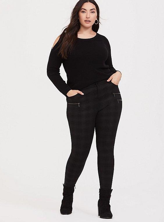 Black & Dark Grey Plaid Ponte Ankle Skinny Pant, , hi-res