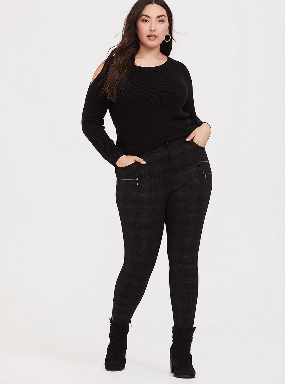 Black & Dark Grey Plaid Ponte Ankle Skinny Pant, PLAID, hi-res