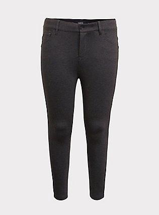 Bombshell Skinny Premium Ponte Pant - Charcoal Grey, CHARCOAL, flat
