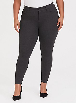 Bombshell Skinny Premium Ponte Pant - Charcoal Grey, CHARCOAL, hi-res
