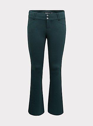 Studio Signature Premium Ponte Stretch Trouser - Green, FOREST, flat