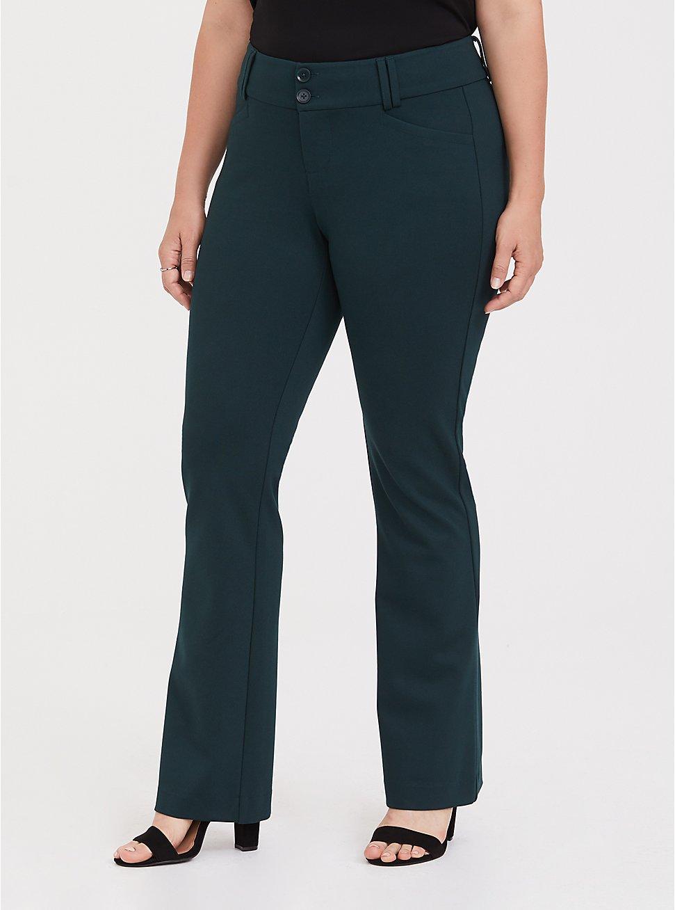 Plus Size Studio Signature Premium Ponte Stretch Trouser - Green, FOREST, hi-res