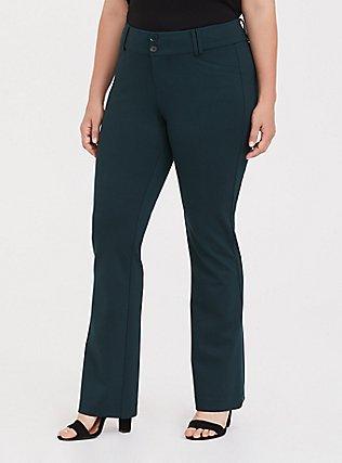 Studio Signature Premium Ponte Stretch Trouser - Green, FOREST, hi-res