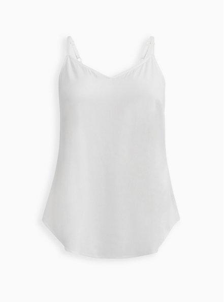 Essential White Stretch Challis Cami, CLOUD DANCER/ MELIA FLORAL EMBD, hi-res
