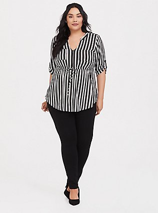 Black & White Stripe Challis Zip Front Babydoll Tunic, TWO ROADS STRIPE, alternate