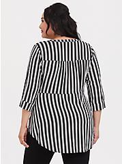Black & White Stripe Challis Zip Front Babydoll Tunic, TWO ROADS STRIPE, alternate