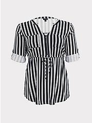 Black & White Stripe Challis Zip Front Babydoll Tunic, TWO ROADS STRIPE, hi-res