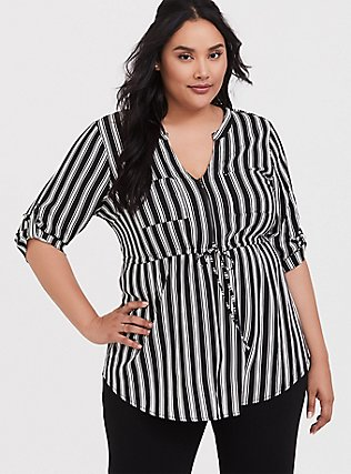 Black & White Stripe Challis Zip Front Babydoll Tunic, TWO ROADS STRIPE, hi-res