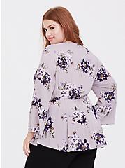 Plus Size Lilac Purple Floral Gauze Babydoll Top, MULTI, alternate
