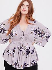 Plus Size Lilac Purple Floral Gauze Babydoll Top, MULTI, hi-res
