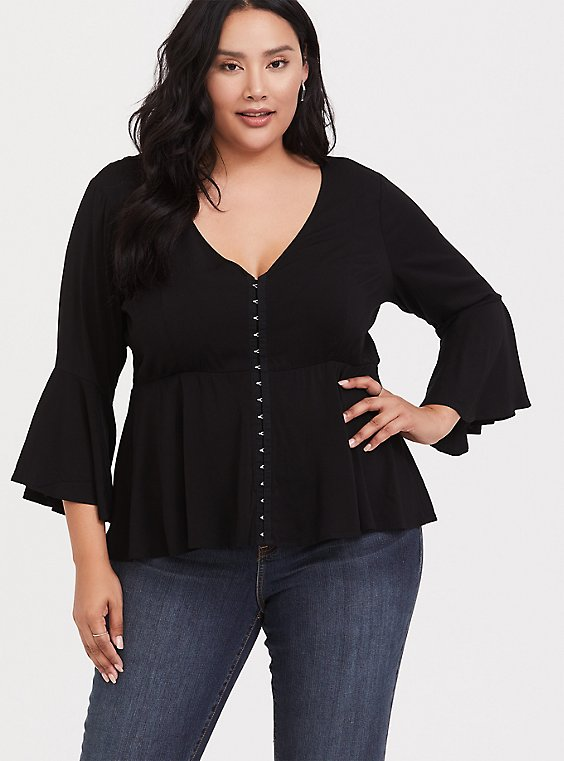 Black Stretch Challis Bell Sleeve Crop Peplum Midi Top, , hi-res